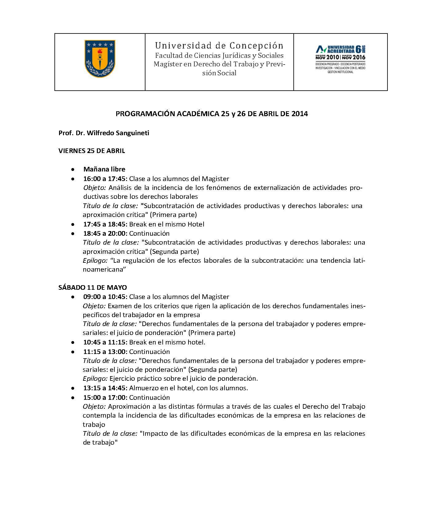 Programación académica - Puerto Varas 2014