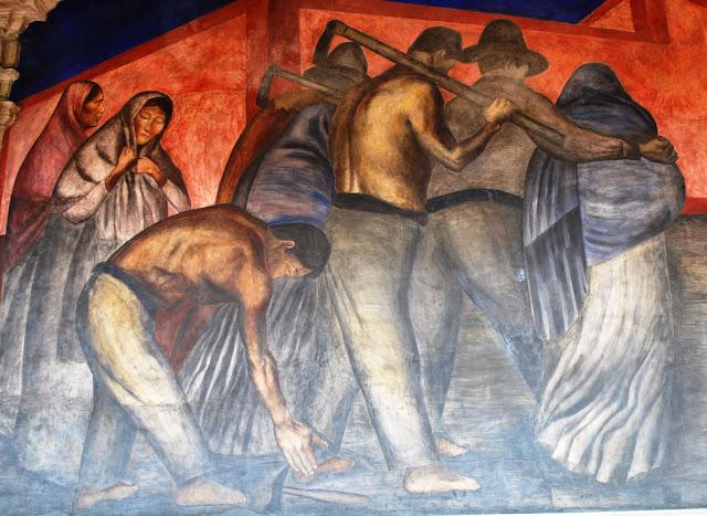 """José Clemente Orozco, sección del mural """"Trabajadores"""""""