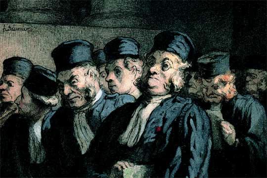 Honoré Daumier, Abogados y jueces antes de la audiencia (hacia 1862)